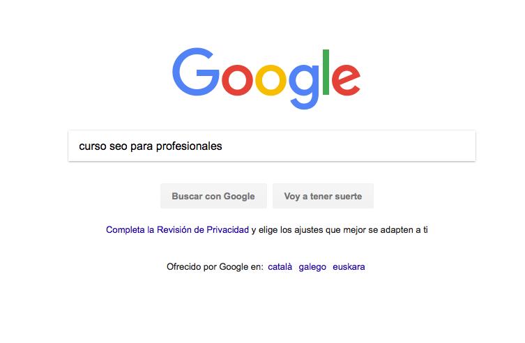 Página de búsqueda, donde realizamos nuestra consulta al buscador.