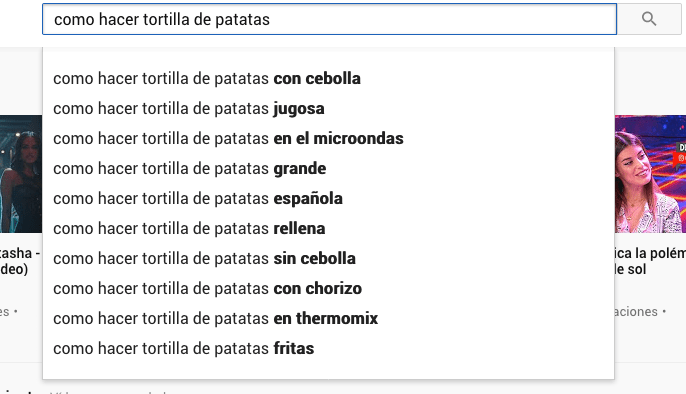 palabras clave youtube